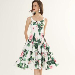 여성의 활주로 드레스 스파게티 스트랩 계층 프릴 민소매 꽃 무늬 프린트 패션 스트리트 디자이너 드레스