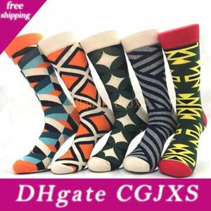 100pairs  Lot New Men Fashions Cotton Socks British Style Colorful Plaid Casual Street Socks Gentleman Adult Unisex Winter