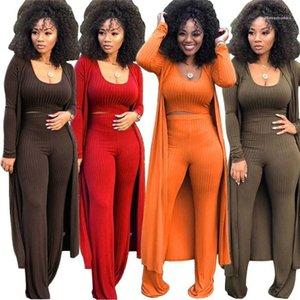 Trois femmes Piece Suit tricot manteau à manches longues Cardigan en vrac large Leg Pants Crop Top 3 Set Piece