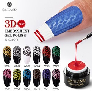 SAVILAND New 3D Embossed Gel Polish 2 In 1 Uv Carved Paiting Gel Lacquer Soak Off Semi Permanent DIY for Nails Art Design