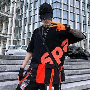 GUYI T-shirt Men Harajuku Tops & Tees Casual T Shirt Streetwear Fashion Hit Color Tshirt Print Hip Hop Cotton Short Letter 0924