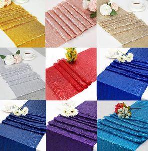 Lentejuelas Tabla corredor de la tabla de la bandera de lentejuelas decoración Mantel de tela Tela de la decoración del partido corredores Decoraciones para las Tablas 30 * 183cm LJJK2454