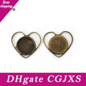 Boyute 20шт 12 мм Кабошон Установка Heart Shaped Antique Bronze Silver Plated Камея кабошон Основа Diy Ювелирных изделий