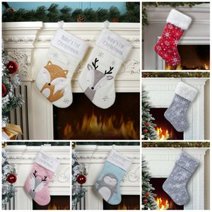 2020 Christmas Stocking Christmas Hanging party Decoration Xmas candy bags Cute fox Penguin Xmas socks kids party favor gift FF98