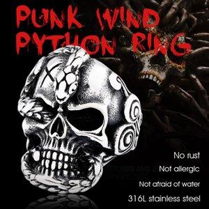 Бейер стиль ретро Урожая 316l нержавеющей стали змея люди кольцо дьявол череп байкер изысканный готические ювелирные изделия для мужчин Панк BR8-652