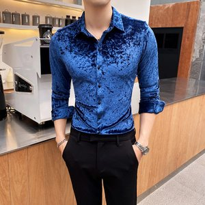 Man Dress Shirts Long Sleeve Men's Black Social Shirt Male Luxury Slim Fit Formal Shirt Golden Velvet Button Up Chemise Homme
