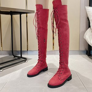 Women Over The Knee Boots Autumn Winter Lady Pumps Women's Flock Lace Up Long Boot Woman Fashion Low Heel Female Shoes Plus Size