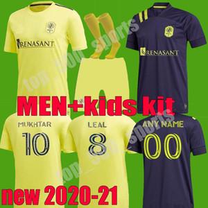 2020 내쉬빌 SC 축구 유니폼 (20) (21) MLS 내쉬빌하니 무크 타 ZIMMERMAN 홈 멀리 축구 셔츠 키즈 키트 enfants LEAL 맥카티 유니폼