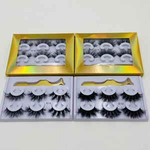 3 Pair Eyelashes with Tweezers Makeup False Eyelashes Full Strip Lashes Mink Eyelashes Thick 3d Mink Lashes in Retail Box 4 Styles