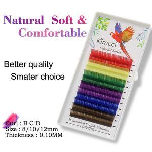 Falso Kimcci Mix Rainbow Color Mink cílios Luz extensão natural macia colorida Composição Faux Individual cílios Cilia