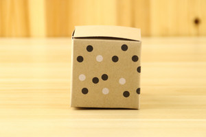 100Pcs Lot Newest Kraft Paper Square gift box with black and white dot For Wedding and Party decoration candy box For cake box