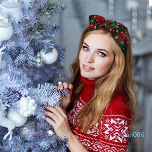 Femmes Filles Bandeau Noël Plaid Snowflower élastique Bow Hairband Oreilles de lapin Heaband Noël Accessoires cheveux HHAA996