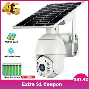 HISMAHO 4G SIM 카드 1080P IP 카메라 WIFI 8W 태양 전지 패널 배터리 보안 카메라 야외 PTZ CCTV 스마트 보안 모니터