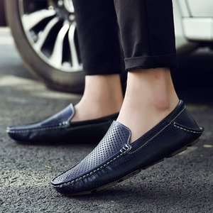 2020 New Men Loafers Casual Summer Shoes Fashion Genuine Leather Slip on Driving Shoes Soft Moccasins Comfort Light Mens Flats