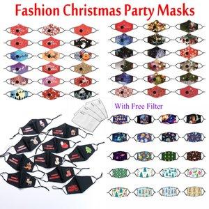Máscara de festa de Natal de moda com gratuito PM2.5 Filtro de Segurança máscara protetora máscara Cotton Anti Poeira Poluição Earloop Rosto Máscaras de impressão
