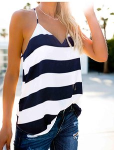 Designer Tank Tops Sexy Striped Printed Deep V Neck Backless Camis Casual Female Clothing Summer Womens