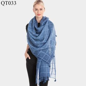 Ms han edition fashion new plaid cotton scarf fall and winter warm shawl dirty dye tassel scarf silk scarves