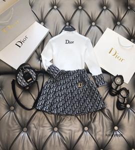 top costume décontracté des filles avec motif imprimé nouvelle jupe de ensembles de vêtements d'automne pour les enfants