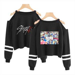 Stray Kids Off Shoulder Crop Harajuku Korean Kpop Summer Kawaii Long Sleeve Sweatshirt Women Clothes 2020 Streetwear Fashion