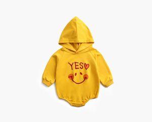 Newborn Boys Girls 0-2T Baby Cotton Long Sleeve Simle Face print Hooded Romper Kids Spring Autumn bodysuit