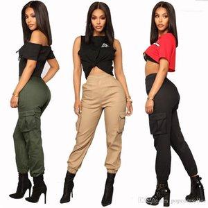 Style Women Pants Designer Womens Harem Pants Fashion Multi Pockets Solid Color High Waist Loose Cargo Pants Street