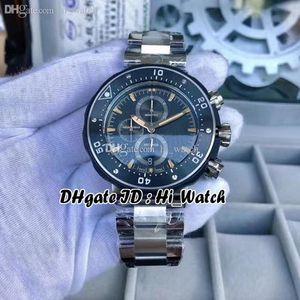 New SRO Aquis de VK67 Japon Quartz Chronographe Mens Watch Dial Memory Stick Boîtier en acier noir Marqueurs Chronomètre Bracelet en acier inoxydable hi_watch