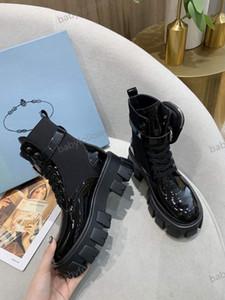 Prada boots 2020 Hot Sale-grossa sapatos de salto mulheres Martin botas genuína único botas de couro muscular vaca ate acima a bota calcanhar robusta up ladies tamanho 34-40