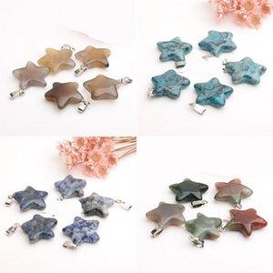 Cristalli Natural Fashion pietra d'agata pendenti di guarigione fai da te ciondolo a forma di stella pentagonale collana ornamenti accessori Nuovo 1 25jd B2