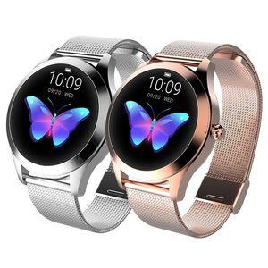 KW10 Smart Watch IP68 Waterproof Round Dial Alarm Fitness Sports Women Electronic Digital Heart Rate Monitor Fashion Band Smartwatch
