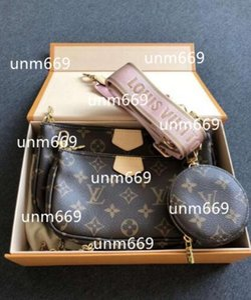 2020 Christian DIOR Louis Vuitton LV BAG GUCCI MEN delle donne della borsa della borsa di lusso di Louis Vuitton borse L fiore tracolla a catena pruses spalla bag 3 pc delle donne