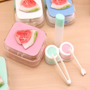 Lovely Colorful Cartoon Flaunting Fruit Portable Contact Lens Case For Women Gift Container Lenses Box Hot Sale