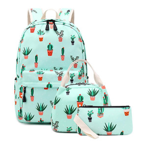 2020 Kids Backpack Teen Girls Satchel Primary School Bag Cactus Bookbag with Lunch Box Pencil Case