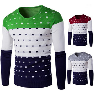 Mens Designer Knit Clothing Male Apparel V Neck Long Sleeve Striped Print Mens Sweater Autumn Pullover Contrast Color