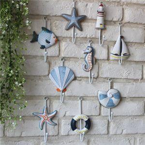 Style créatif méditerranéen mur Crochets bleu océan crochets en bois Voilier Lifebuoy Starfish forme Hanger Crochet Home Bar Boutique Décor