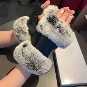 Designer Fingerless Gloves with Box Leather Plus Velvet Women's Gloves Outdoor Cycling Drive Keep Warm Hipster Fingerless Gloves
