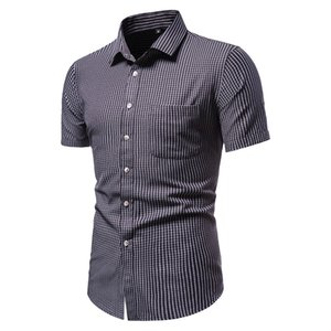 SZMXSS Plaid Shirts For Men Casual Slim Fit Social Short Sleeve Clothing Business Brand Male Shirts Regular-fit Classic Tops CX200825
