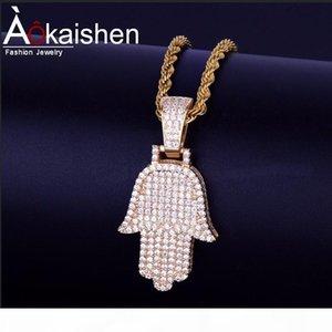 Fatima рук Кубический циркон ожерелье шарма Горячий продавец мужской хип-хоп ювелирных изделий Gold Silver бесплатно Rope Chain для друга подарок