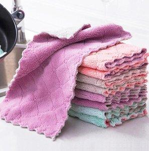 Mutfak Bulaşık Bezi Çift Layber Emici Mikrofiber Yapışmaz Yağ Ev Temizlik Silme Havlu Kichen Araçları Ücretsiz Kargo OWB1102