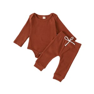 Cute Baby Boys Girls 0-24M Spring Autumn clothes cotton long sleeve romper + pants 2pcs clothes set