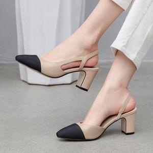 Meotina Mulheres Slingbacks Sapatos Salto Alto naturais genuíno couro grosso sapatos de salto alto de couro de vaca Cores misturadas Bombas Senhoras 40