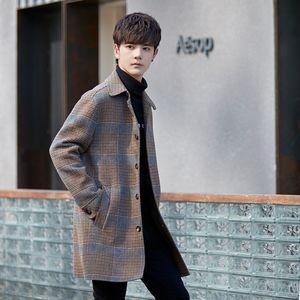 high quality woolen coat new plaid mid-length jackets men jacket double-sided mens overcoat wool blends windbreaker Hot Sale