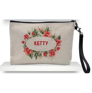 Cosmetic Bag Moda fai da te ispessito Lino pochette cerniera sacchetti di immagazzinaggio a trasferimento termico a sublimazione vuoto pianura Borse Donne borsa D92408