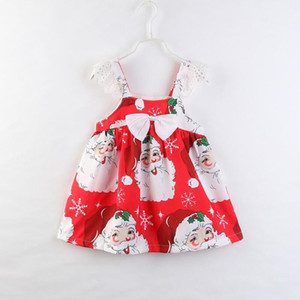 Baby Girl Clothes Cartoon Santa Claus Prints Lovely Bowknot Sleeveless Kids Dresses for Girls Children Christmas Party Clothing