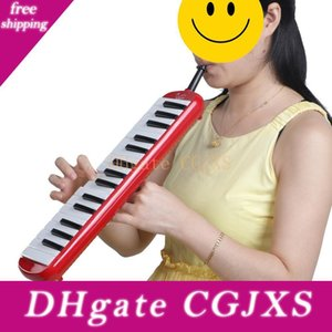 32 Anahtar Melodica ile Blowpipe Oral Boru İçin Öğrenci Mızıka Çocuk Seti Oyuncak Müzik Aletleri Kırmızı