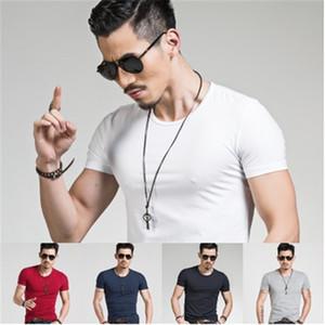 Été chaud à manches courtes couleur unie hommes T-shirt des hommes de mode casual chemise taille creux de la vague t-shirt de haute qualité de M-3XL