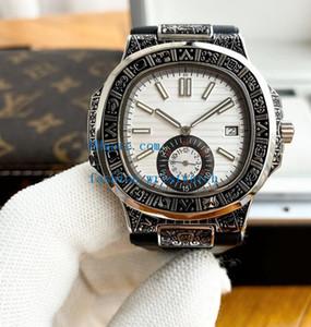 Boutique de la manera ocasional del bisel tallado Relojes 42mm 316 Totalmente Negro mecánico automático de goma azul correa de los hombres del reloj de pulsera
