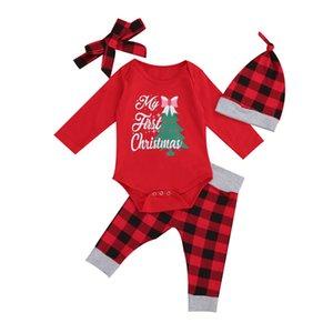 0-18m Noël bébé Vêtements Set Nouveau-né Enfant garçon Vêtements fille mis arbre de Noël Imprimer Top costume Bodysuit Pantalon à carreaux Outfit