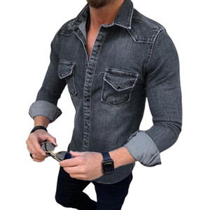 Men Denim Jacket Spring Autumn New Mens Turn-down Collar Pockets Tops Solid Color Male Casual Street Outerwear