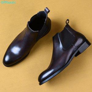 Erkek Giydirme Boots On QYFCIOUFU 2020 Moda Tasarımı Gerçek Deri Erkek Bilek Boots Moda Kayma Mavi Gri Adam Basic Ayakkabı