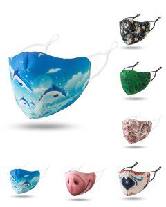 Whoelsale masque contre la poussière élastique Mascherine Masques bouche imperméable imprimé fleur respirant maks M en forme de masque Pince-nez